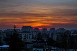 zachód słońca nad Krakowem